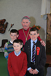 Matthew Lenahan.after being confirmed by Bishop Michael Smith in Julianstown Church Tadgh and Daniel Lenahan.Picture:  www.newsfile.ie ..