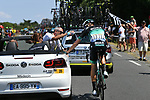 Marcus Burghardt (GER) Bora-Hansgrohe receives medical attention during Stage 4 of the 2018 Tour de France running 195km from La Baule to Sarzeau, France. 10th July 2018. <br /> Picture: ASO/Pauline Ballet | Cyclefile<br /> All photos usage must carry mandatory copyright credit (&copy; Cyclefile | ASO/Pauline Ballet)