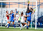 Clark, Hannah_BLU5214<br /> Hannah Clark blocks a shot taken by Ohio State - The game between BYU and Ohio State ended in a scoreless draw in double overtime at South Field Monday, August 21 <br /> <br /> <br /> August 21, 2017<br /> <br /> Photography by Gabriel Mayberry /BYU<br /> <br /> © BYU PHOTO 2017<br /> All Rights Reserved<br /> photo@byu.edu  (801)422-7322
