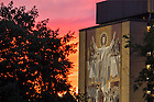 August 14, 2016; Sunset behind the Word of Life Mural (Photo by Matt Cashore/University of Notre Dame)