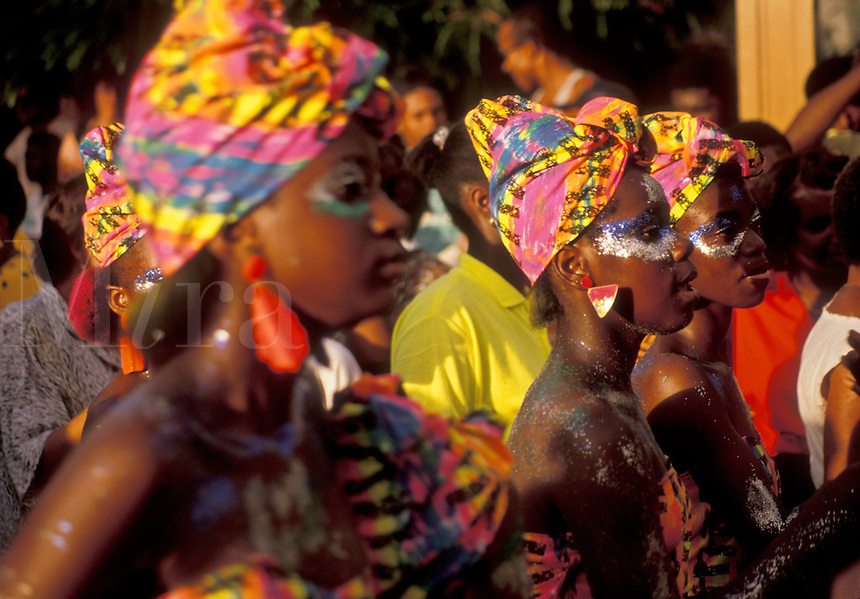 AJ2417, Caribbean, carnival, St. Martin, Marigot, Caribbean Islands, Local black women wear colorful costumes in a parade during the carnival in Marigot the French capital of the island of Saint Martin (french part).