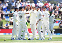 23rd November 2019; Mt Maunganui, New Zealand;  Joe Root and team mates celebrate the wicket of Nicholls during play on Day 3, 1st Test match between New Zealand versus England. International Cricket at Bay Oval, Mt Maunganui, New Zealand.  - Editorial Use