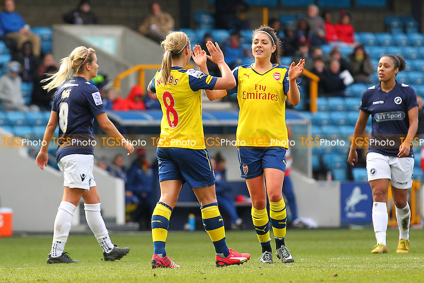 Jordan Nobbs (L) celebrates scoring the third goal with Carla Humphrey of Arsenal Ladies - Millwall Lionesses vs Arsenal Ladies - FA Womens Challenge Cup 5th Round Football at the New Den, Bermondsey, London - 22/03/15 - MANDATORY CREDIT: TGSPHOTO - Self billing applies where appropriate - contact@tgsphoto.co.uk - NO UNPAID USE