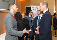 05 December 2016 - London, England - Prince William The Duke of Cambridge meets Unilever employee David Titman (left) and Unilever Chief Learning Officer Tim Munden during a briefing with business leaders to discuss the importance of workplace wellbeing, as part of the Heads Together campaign, at Unilever, in London. Photo Credit: ALPR/AdMedia