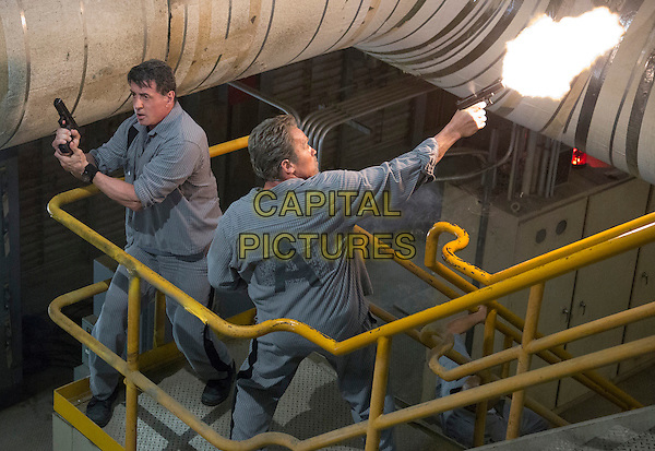 Sylvester Stallone, Arnold Schwarzenegger<br /> in Escape Plan (2013) <br /> *Filmstill - Editorial Use Only*<br /> CAP/FB<br /> Image supplied by Capital Pictures