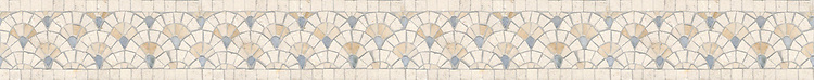 "4"" Sassafras border, a hand-cut mosaic shown in polished  Ivory Cream, Travertine White, and Celeste by New Ravenna."