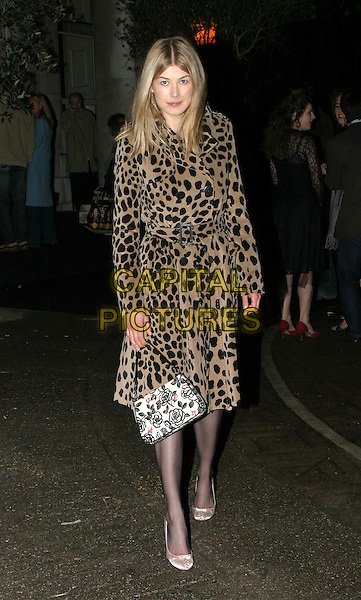 ROSAMUND PIKE.Kill Bill 2 UK Premiere, Empire Leicester Square.April 20th, 2004.full length, full-length, leopard print, animal print coat, jacket, floral print bag, purse.www.capitalpictures.com.sales@capitalpictures.com.© Capital Pictures.