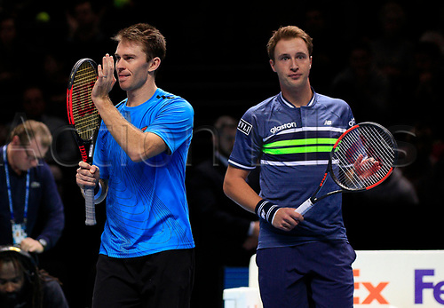 18th November 2017, O2 Arena, London, England; Nitto ATP Tennis Finals; Henri Kontinen (FIN) and John Peers (AUS) celebrate their victory afer the match with Jamie Murray (GBR) and Bruno Soares (BRA)
