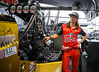 May 5, 2017; Commerce, GA, USA; NHRA top fuel driver Leah Pritchett in the pits during qualifying for the Southern Nationals at Atlanta Dragway. Mandatory Credit: Mark J. Rebilas-USA TODAY Sports