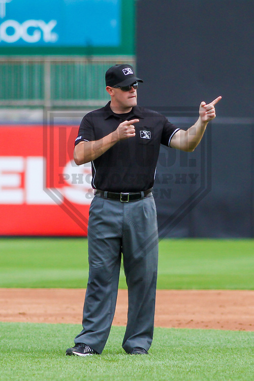 Umpire James Folske during a Midwest League game between the Wisconsin Timber Rattlers and the Burlington Bees on July 10, 2017 at Fox Cities Stadium in Appleton, Wisconsin.  Burlington defeated Wisconsin 6-3. (Brad Krause/Krause Sports Photography)