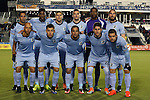 22 October 2016: Minnesota starters. Front row (from left): J.C. Banks, Christian Ramirez, Danny Cruz, Kevin Venegas, Ben Speas. Back row (from left): Ibson (BRA) (7), Damion Lowe (JAM), Justin Davis, Jeb Brovsky, Sammy N'Djock (CMR), and Brent Kallman (6). The Carolina RailHawks hosted Minnesota United FC at Wake Med Soccer Park in Cary, North Carolina in a 2016 North American Soccer League Fall Season match. Carolina won the game 1-0.