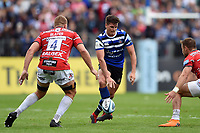Freddie Burns of Bath Rugby puts boot to ball. Gallagher Premiership match, between Bath Rugby and Gloucester Rugby on September 8, 2018 at the Recreation Ground in Bath, England. Photo by: Patrick Khachfe / Onside Images