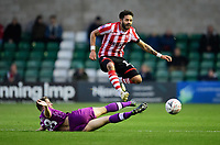 Lincoln City's Bruno Andrade is tackled by Carlisle United's Jack Sowerby<br /> <br /> Photographer Chris Vaughan/CameraSport<br /> <br /> The Emirates FA Cup Second Round - Lincoln City v Carlisle United - Saturday 1st December 2018 - Sincil Bank - Lincoln<br />  <br /> World Copyright © 2018 CameraSport. All rights reserved. 43 Linden Ave. Countesthorpe. Leicester. England. LE8 5PG - Tel: +44 (0) 116 277 4147 - admin@camerasport.com - www.camerasport.com