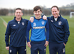 Rangers youth coaches Alan Boyd and Jim Sinclair at Murray Park with young pro player Charlie Telfer who has been with the club since age 8