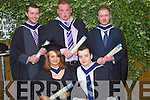 Front Aine Culloty Castleisland and Niall Horan, Tralee. Back: Maurice Shanahan, Tralee, Adam Pierse Ballyduff, and David Scollard Tralee who graduated in Bachelor of Business in Management at the Autumn graduations which took place at the Brandon hotel on Friday.