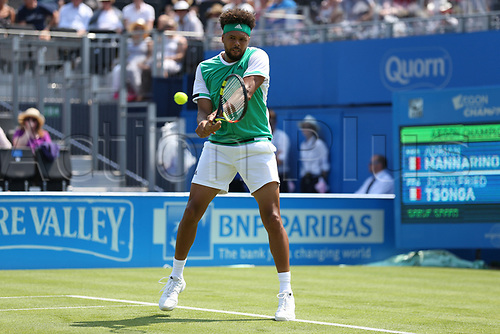 June 19th 2017, Queens Club, West Kensington, London; Aegon Tennis Championships, Day 1; Jo-Wilfried Tsonga of France in action while defeating Adrian Mannarino of France