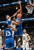 WASHINGTON, DC - FEBRUARY 05: Sandro Mamukelashvili #23 and Romaro Gill #35 of Seton Hall block  shot from Terrell Allen #12 of Georgetown during a game between Seton Hall and Georgetown at Capital One Arena on February 05, 2020 in Washington, DC.