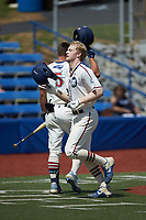 Britt Fuller (32) (Duke) of the High Point-Thomasville HiToms is greeted at home plate by teammate Eric Grintz (5) (UNC) after hitting a home run against the Old North State League West All-Stars at Hooker Field on July 11, 2020 in Martinsville, VA. The HiToms defeated the Old North State League West All-Stars 12-10. (Brian Westerholt/Four Seam Images)