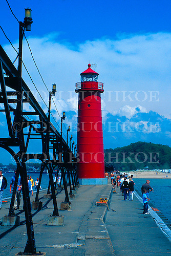 Grand Haven South Pier Lighthouse, Grand Haven, Michigan on Lake Michigan.