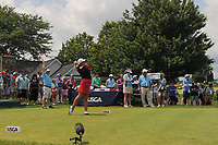 Marissa Steen (USA) watches her tee shot on 1 during Saturday's third round of the 72nd U.S. Women's Open Championship, at Trump National Golf Club, Bedminster, New Jersey. 7/15/2017.<br /> Picture: Golffile | Ken Murray<br /> <br /> <br /> All photo usage must carry mandatory copyright credit (&copy; Golffile | Ken Murray)