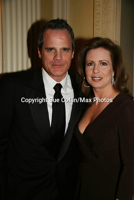 "As The World Turns' Michael Park poses with Martha Byrne as they attend ""When You Wish Upon A Star"" on March 6, 2010 which benefits Child Life and Creative Arts Therapy Department, Maria Fareri Children's Hospital at Westchester Medical Center, Westchester, New York. The evening began with a cocktail reception and silent auction, a children's performance (singing) followed by dinner, dancing and more. (Photo by Sue Coflin/Max Photos)"