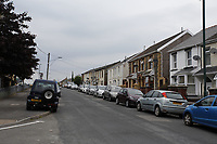 Pictured: Charles Street where Aneurin Bevan was born in Tredegar, Wales, UK. Sunday 01 July 2018<br /> Re: Labour Party leader Jeremy Corbyn at the celebration for the 70 years since the National Health Service (NHS) was founded by Aneurin Bevan, Bedwellty Park, Tredegar, Wales, UK.