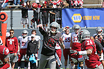 Quarterback, Connor Halliday, fires a pass to running back, Theron West, during the annual Washington State Cougar spring game, the Crimson and Gray game, at Joe Albi Stadium in Spokane, Washington, on April 26, 2014.