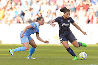 Bridgeview, IL - Sunday May 29, 2016: Sky Blue FC forward Raquel Rodriguez (11) is marked by Chicago Red Stars midfielder Vanessa DiBernardo (10) during a regular season National Women's Soccer League (NWSL) match at Toyota Park.