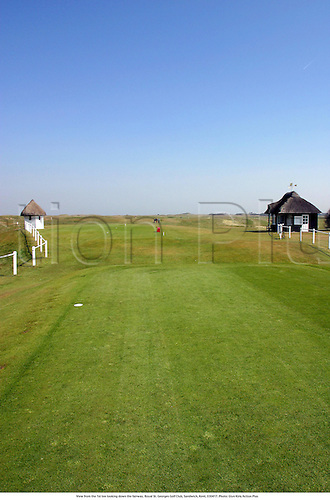 View from the 1st tee looking down the fairway, Royal St. Georges Golf Club, Sandwich, Kent, 030417. Photo: Glyn Kirk/Action Plus...2003.venue venues course courses .tees fairways