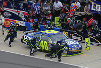 Apr 27, 2008; Talladega, AL, USA; NASCAR Sprint Cup Series driver Jimmie Johnson pits during the Aarons 499 at Talladega Superspeedway. Mandatory Credit: Mark J. Rebilas-