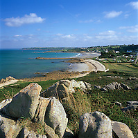 France, Brittany, at Plougasnou Community, view along rugged coastline..