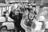Anna Scher Children's Theatre, East End of London 1972.  Kids would come after school and be expected to work hard.  Here, they're on their way to do some filming for the BBC.  Some went on to have careers in the industry and a few became household names: Pauline Quirk, Phil Daniels.