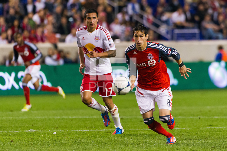 Eric Avila (8) of Toronto FC. The New York Red Bulls defeated Toronto FC 4-1 during a Major League Soccer (MLS) match at Red Bull Arena in Harrison, NJ, on September 29, 2012.