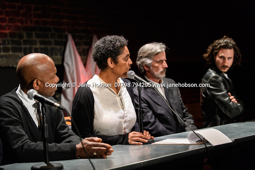 """A brand new adaptation of Albert Camus' """"The Plague"""" opens at the Arcola Theatre. Adapted and directed by Neil Bartlett. Picture shows: Burt Caesar (Grand),  Sara Powell (Dr Rieux), Martin Turner (Mr Tarrou), Billy Postlethwaite (Mr Rambert)"""