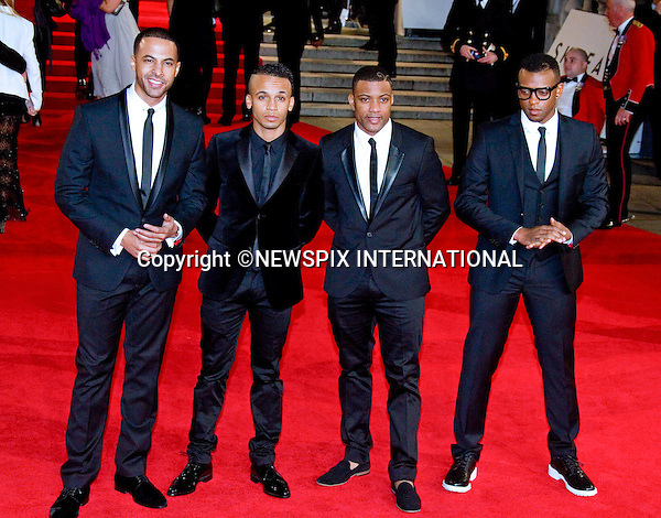 "JLS - MARVIN HUMES, ASTOM MERRYGOLD, ORTISE WILLIAMS AND JONATHAN GILL.attends the World Premiere of the twenty-third 007 adventure, ""Skyfall"", Royal Albert Hall, London_23/10/2012.Mandatory Credit Photo: ©Butler/NEWSPIX INTERNATIONAL..**ALL FEES PAYABLE TO: ""NEWSPIX INTERNATIONAL""**..IMMEDIATE CONFIRMATION OF USAGE REQUIRED:.Newspix International, 31 Chinnery Hill, Bishop's Stortford, ENGLAND CM23 3PS.Tel:+441279 324672  ; Fax: +441279656877.Mobile:  07775681153.e-mail: info@newspixinternational.co.uk"