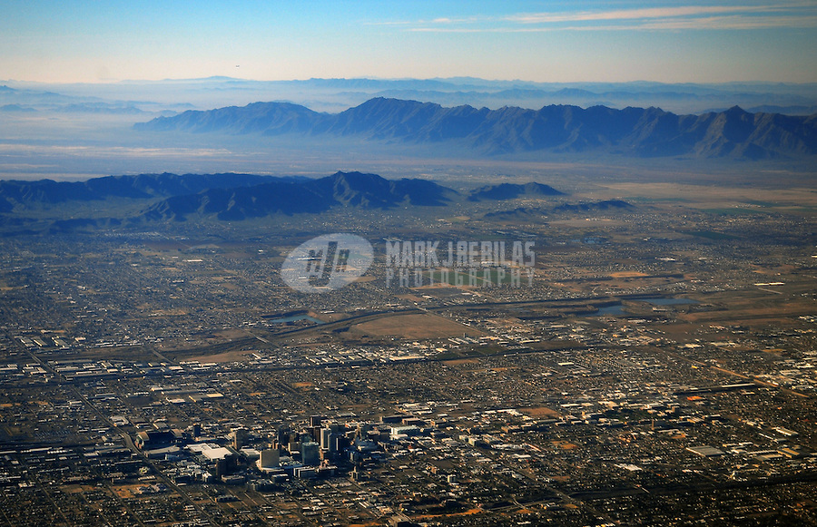 aerial downtown Phoenix Arizona mountains desert urban sprawl city town horizon buildings skyscraper