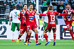 Stockholm 2014-05-04 Fotboll Superettan Hammarby IF - IFK V&auml;rnamo :  <br /> V&auml;rnamos Martin Claesson jublar med lagkamrater efter att ha kvitterat till 1-1 i den f&ouml;rsta halvleken<br /> (Foto: Kenta J&ouml;nsson) Nyckelord:  Superettan Tele2 Arena Hammarby HIF Bajen V&auml;rnamo jubel gl&auml;dje lycka glad happy