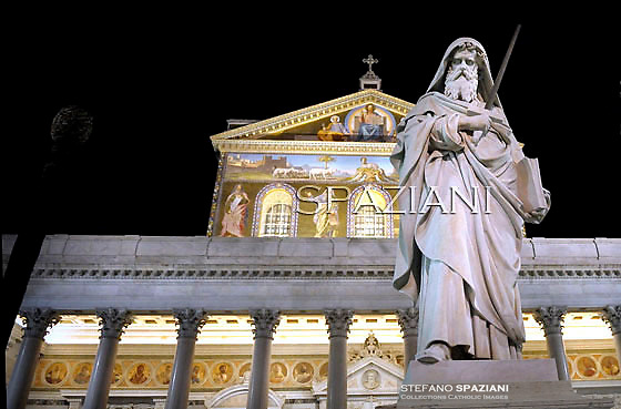 Statue Saint Paul ,Saint Paul outside the walls basilica in Rome,Pope Benedict XVI leads Vespers on the Feast of the Conversion of the Apostle Paul on January 25, 2012 at the Saint Paul outside the walls basilica in Rome. .