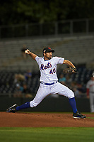 Scottsdale Scorpions starting pitcher Mickey Jannis (40), of the New York Mets organization, delivers a pitch to the plate during an Arizona Fall League game against the Peoria Javelinas on October 20, 2017 at Scottsdale Stadium in Scottsdale, Arizona. the Javelinas defeated the Scorpions 2-0. (Zachary Lucy/Four Seam Images)