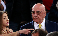 Calcio, Serie A: Roma vs Milan. Roma, stadio Olimpico, 25 aprile 2014.<br /> AC Milan CEO Adriano Galliani listens to senator Mariarosaria Rossi, left, prior to the start of the Italian Serie A football match between AS Roma and AC Milan at Rome's Olympic stadium, 25 April 2014.<br /> UPDATE IMAGES PRESS/Isabella Bonotto