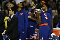 17th January 2019, The O2 Arena, London, England; NBA London Game, Washington Wizards versus New York Knicks; A dejected Noah Vonleh of the New York Knicks as he hides his face in his jersey as they lose the game