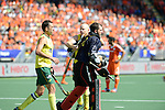 The Hague, Netherlands, June 15: Andrew Charter #30 of Australia is congratulated by teammates during the field hockey gold match (Men) between Australia and The Netherlands on June 15, 2014 during the World Cup 2014 at Kyocera Stadium in The Hague, Netherlands. Final score 6-1 (2-1)  (Photo by Dirk Markgraf / www.265-images.com) *** Local caption ***