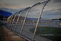 Oct. 31, 2009; Talladega, AL, USA; Detailed view of the catch fence in the tri-oval following the NASCAR Camping World Truck series Mountain Dew 250 at the Talladega Superspeedway. The catch fence was redesigned prior to the weekend. Mandatory Credit: Mark J. Rebilas-
