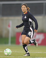 Homare Sawa #10 of the Washington Freedom moves up field during a WPS match against St.Louis Athletica at the Maryland Soccerplex on May 3, 2009 in Boyds Maryland. The game ended in a 3-3 tie.