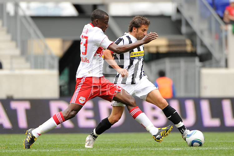 Alessandro Del Piero (10) of Juventus F. C. is marked by Tony Tchani (23) of the New York Red Bulls. The New York Red Bulls defeated Juventus F. C. 3-1 during a friendly at Red Bull Arena in Harrison, NJ, on May 23, 2010.