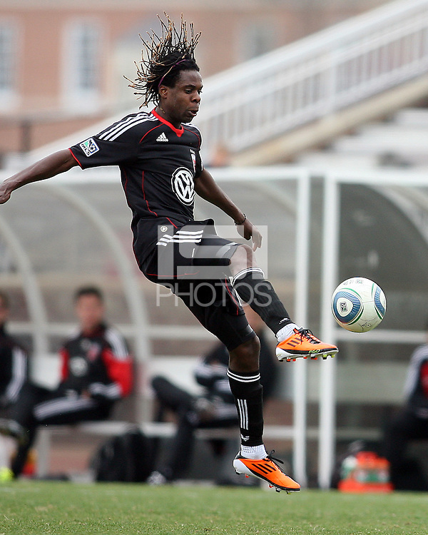 Joseph Ngwenya (11) of D.C. United  during a scrimmage against the University of Virginia at Ludwig Field, University of Maryland, College Park, on April  10 2011. D.C. United won 1-0.