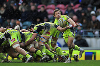 Chris Cusiter of Sale Sharks passes the ball. Aviva Premiership match, between Leicester Tigers and Sale Sharks on February 6, 2016 at Welford Road in Leicester, England. Photo by: Patrick Khachfe / JMP