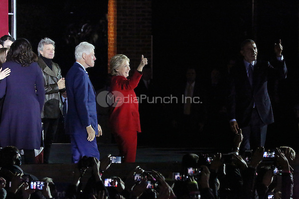 PHILADELPHIA, PA - NOVEMBER 7: First Lady, Michelle Obama,President Barack Obama, Bill Clinton, Chelsea Clinton, Jon Bon Jovi and Hillary Clinton at the GOTV Rally in support of Hillary Clinton for President at Independence Mall in Philadelphia, Pennsylvania on November 7, 2016. Credit: Star Shooter/MediaPunch