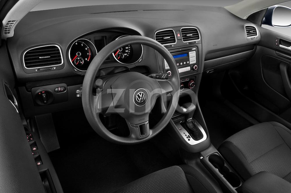 High angle dashboard view of a 2010 Volkswagen Jetta SportWagen S