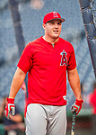 15 August 2017: Los Angeles Angels outfielder Mike Trout awaits his turn in the batting cage prior to facing the Washington Nationals at Nationals Park in Washington, DC. The Nationals defeated the Angels 3-1 in the first game of their 2-game series. Mandatory Credit: Ed Wolfstein Photo *** RAW (NEF) Image File Available ***